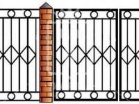 Металлические ворота с ромбиками  и кольцами (Арт. 094)
