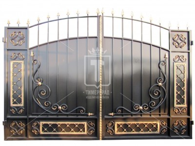 Металлические ворота с металлическим листом и ажурными элементами (Арт. 037)