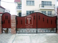 Красные ворота с узорами, похожими на ящериц (Арт. 052)
